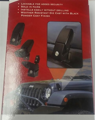 Rampage 76336 Locking Hood Catch Kit 07 15 Jeep Wrangler
